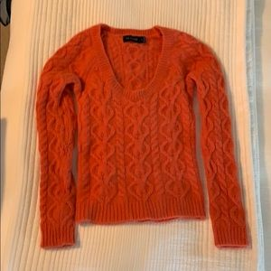 Orange cable knit cropped sweater -The Limited
